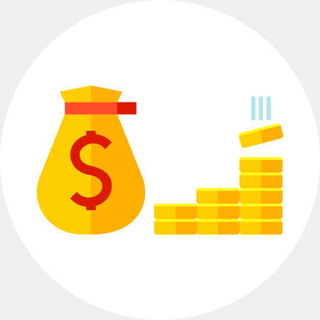 Sack with dollar sign and gold bars. Fund, budget, bank. Money concept. Can be used for topics like business, management, finance, banking. Illustration