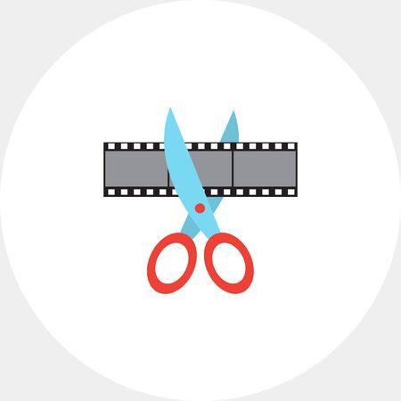 Vector icon of scissors cutting film shot