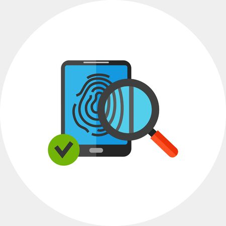 topics: Icon of fingerprint scanner. Biometrics, identification, security. Security concept. Can be used for topics like security, privacy or information security