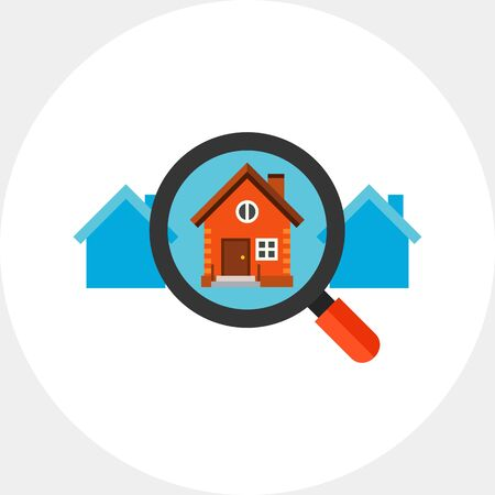 Icon of magnifying glass zooming house. Choosing house, rent, searching property.House concept. Can be used for topics like rent, new house or purchase Illustration