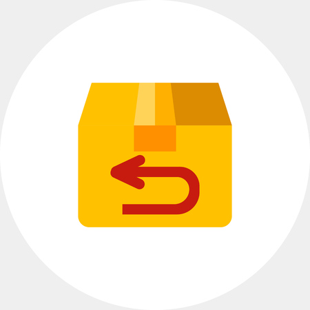 Multicolored vector icon of parcel being sent back Illustration