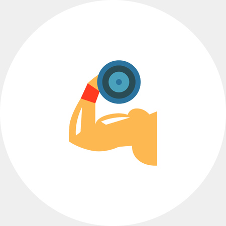 Man hand demonstrating biceps by lifting dumbbell. Muscles, training, heavy. Muscles concept. Can be used for topics like sport, health, powerlifting. Illustration