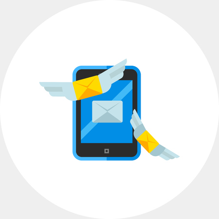 sending: Illustration of smartphone with sending envelopes symbol. Direct message, marketing, advertising. Technology concept. Can be used for topics like marketing, technology, advertising Illustration