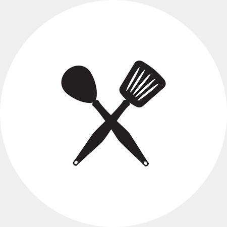stewing: Icon of crossed spoon and turner Illustration