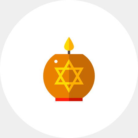 Multicolored vector icon of star of David candle