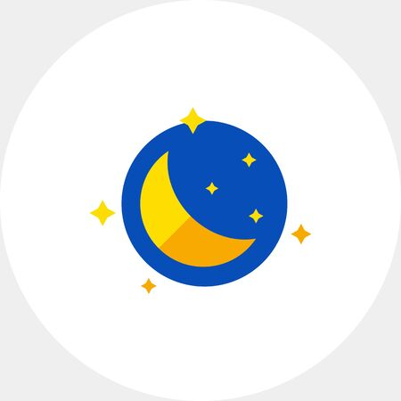 topics: Night with moon and stars. Sleep, crescent, dream. Night concept. Can be used for topics like astronomy, astrology, marketing. Illustration