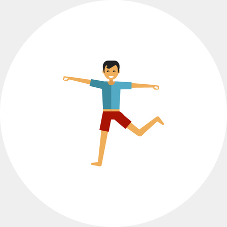 Multicolored vector icon of standing man doing yoga