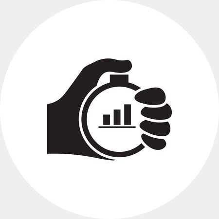 uptrend: Icon of mans hand holding stopwatch with graph inside