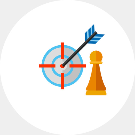 Pawn and arrow in center of target. Hitting, success, perfect. Strategy focus concept. Can be used for topics like business, management, planning, marketing. Illustration