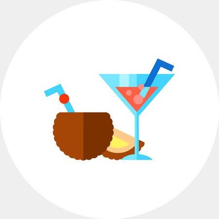 topics: Popular cocktails. Fresh, cool, tasty. Summer drink concept. Can be used for topics like summer, vacation, beverages.
