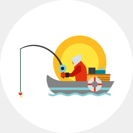 motorboat: Fisherman with fishing rod in boat. Fish, hobby, equipment. Fishing concept. Can be used for topics like summer, vacation, fishing.