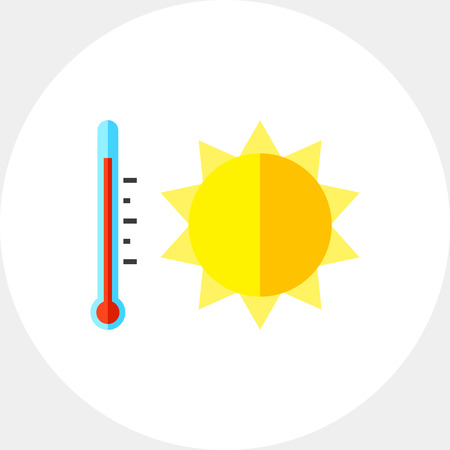 Sun and thermometer symbolizing heat. Beach, temperature, weather. Summer heat concept. Can be used for topics like summer, vacation, resorts.