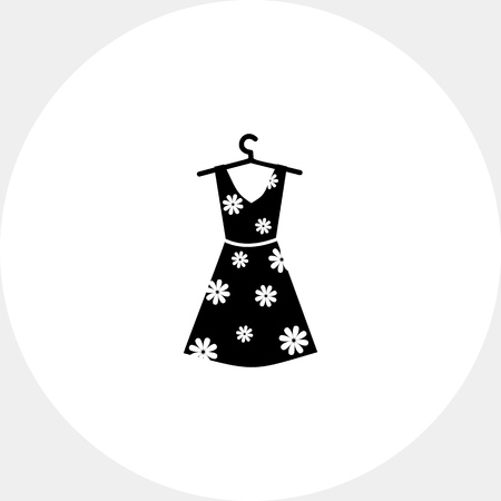 Summer woman dress with floral print on hanger. Summer, beautiful, elegance. Dress concept. Can be used for topics like clothes, fashion, tourism. Illustration