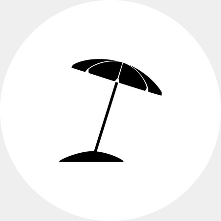 to spend the summer: Sun umbrella on beach. Summer, heat, shade. Sunbathing concept. Can be used for topics like tourism, weather, nature.