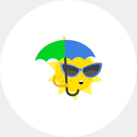 topics: Cartoon sun wearing sunglasses and holding umbrella. Heat, beach, sea. Sun concept. Can be used for topics like summer, vacation, weather.