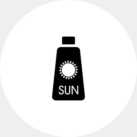 sunblock: Skin cream bottle with sun sign. Summer, skincare, beach. Sunbathing concept. Can be used for topics like weather, nature, tourism, health.