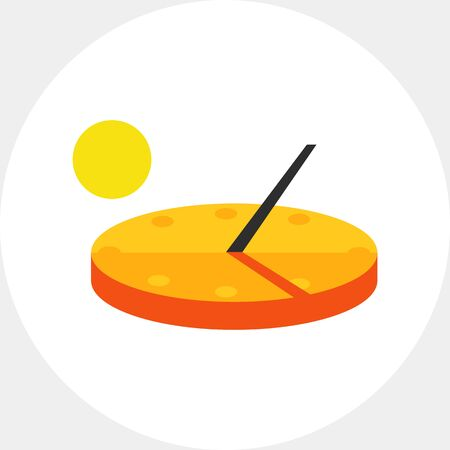 Illustration of sundial. Time, instrument, sun, shadow. Time concept. Can be used for topics like time, clock, time measurement devices Illustration