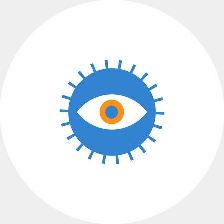 human eye: Icon of open human eye in circle