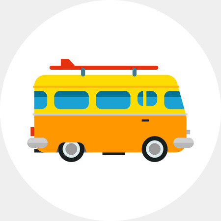 topics: Orange bus with surf board. Sea, coast, leisure. Surf board bus concept. Can be used for topics like summer, vacation, surfing.