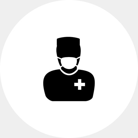 surgeons hat: Male character in mask and surgeon uniform. Professional, operation, care. Surgery concept. Can be used for topics like medicine, healthcare, health.