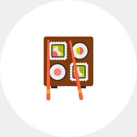 sushi  plate: Image of Japanese sushi served on wooden plate with chopsticks Illustration