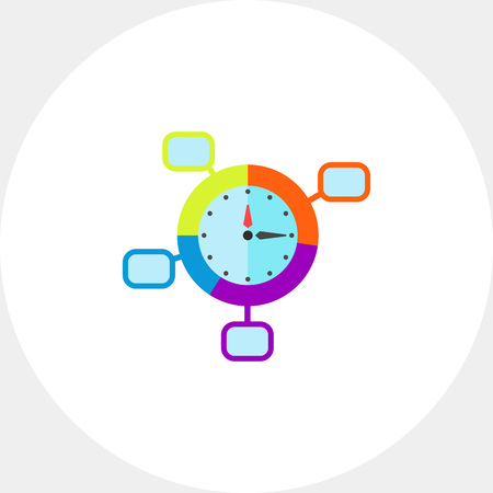 puntualidad: Clock with pointers. Schedule, punctuality, efficiency. Time management concept. Can be used for topics like management, planning, business.