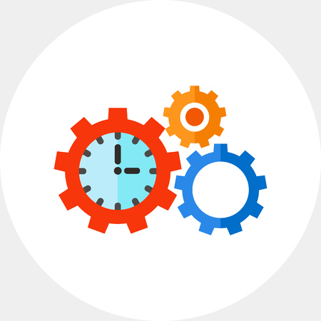puntualidad: Clock in form of gear and another gear with sun in background. Mechanism, efficiency, punctuality. Time management concept. Can be used for topics like business, management, planning, banking.