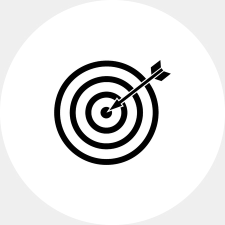 Illustration of target with arrow. Targeting, strategy, focus, marketing. Targeting concept. Can be used for topics like marketing, targeting, advertising