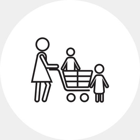mujer en el supermercado: Compras con niños