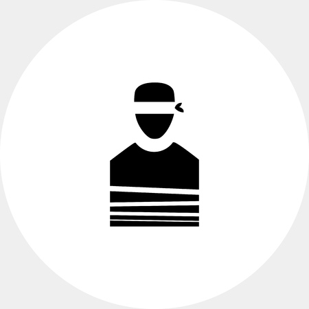 tied: Tied Hostage with Blindfold Icon Illustration