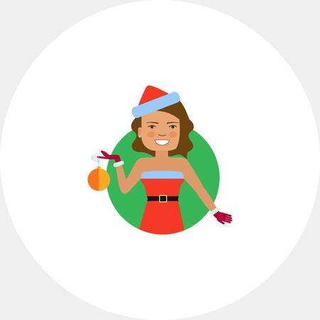 Smiling woman holding Christmas ball