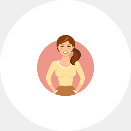 Smiling young woman in beige