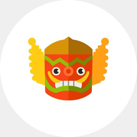 thai dance: Spooky colorful Thai mask icon Illustration