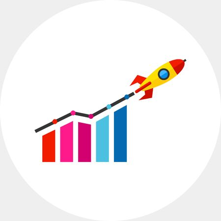 Startup Growth and Rocket Icon