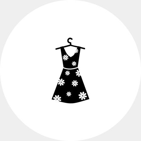 summer dress: Summer Woman Dress Icon Illustration