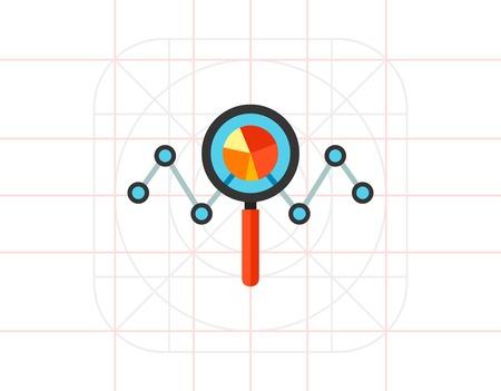 audits: Analyzing statistics chart icon Illustration
