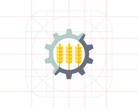 Industrialization of agriculture icon Illustration