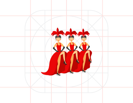 symbols: French cancan dancers icon