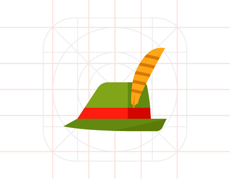 tirol: Green Tirol hat vector icon Illustration