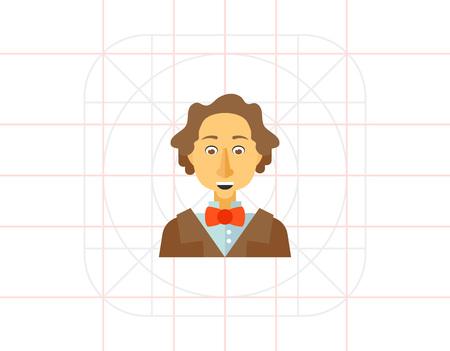 famous writer: Hans Christian Andersen icon Illustration