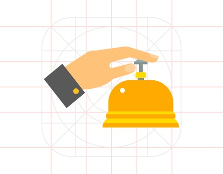 Male hand pressing service bell icon