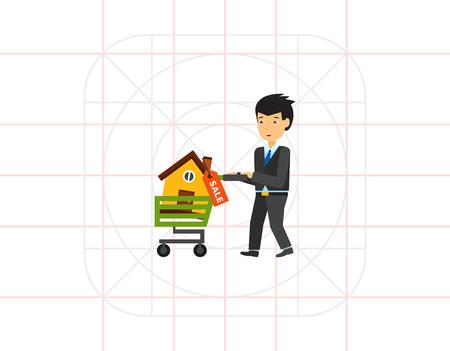 buying: Man buying house icon