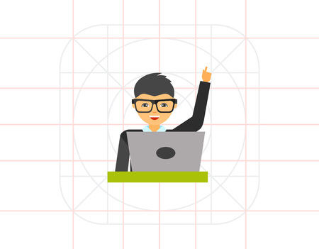 Manager in glasses working laptop icon 矢量图片