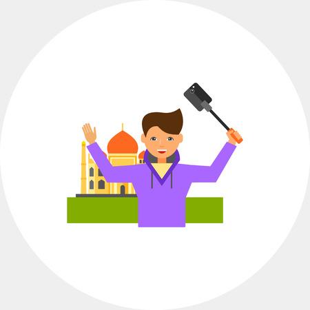 Travelling Man Taking Selfie Icon