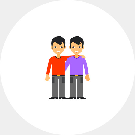 male friends: Two Hugging Male Friends Icon Illustration