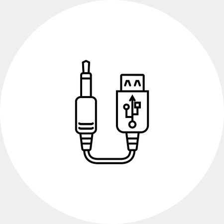 interconnect: Icon of USB to jack cable