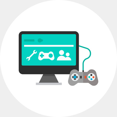 xbox: Icon of joy stick connected television. Retro video game, gamepad, entertainment, hobby. Gaming concept. Can be used for topics like gaming, entertainment or video game Illustration