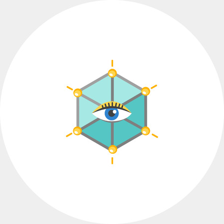 Icon of human eye in hexagon