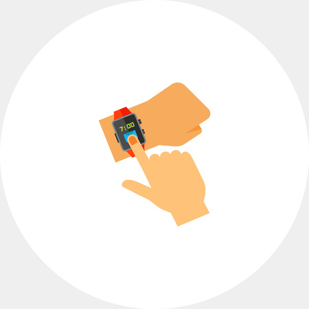 Hands using smart watch. Time, touching, wrist. Smart Watch concept. Can be used for topics like technology, electronics, accessories.
