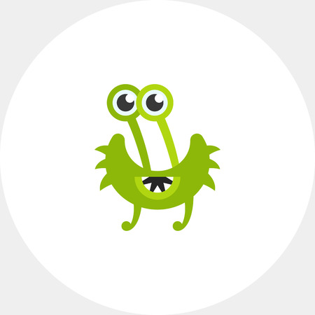 infectious disease: Virus cartoon character flat icon. Multicolored vector illustration of strange bacterium with five eyes